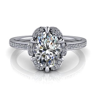 Floral Halo Oval Engagement Ring